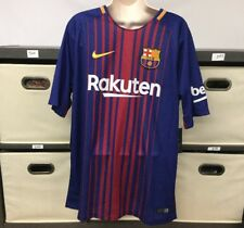 """Nike Barcelona 2017-18 Blue Red #10 Messi """"King P"""" Rare Home Jersey Men's Large"""
