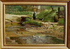 Adolf Lins 1856 Kassel - 1927 Düsseldorf / Bachlauf mit Enten, Mädchen u. Hund