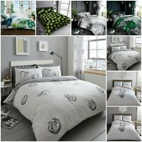 Luxury Sloth Ebony Weed Leaf Duvet Quilt Cover Grey Bedding Set with Pillow Case