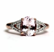 925 sterling silver rose gold plated morganite cubic zirconia band ring 2.9g
