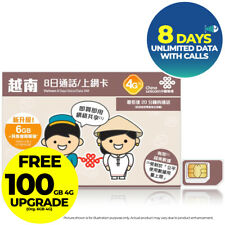 VIETNAM 8Day 100GB 4G UNLIMITED DATA w CALL Viettel Prepaid SIM CARD Travel Asia