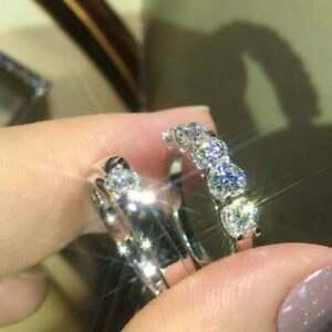 1.50Ct Round Cut Diamond Bridal Couple Wedding Band Ring 14K White Gold Finish