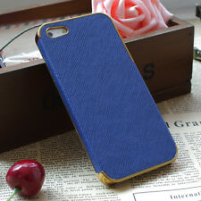 Frame Luxury Leather Chrome Hard Back Case Cover For iPhone 5 5S Navy Blue Gold