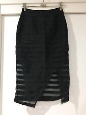 Portmans Ladies Black See Through Pencil Skirt Striped Size 6 Good Condition