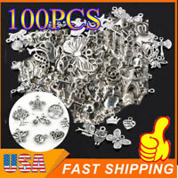 100 PCS Bulk Mixed  Alloy Silver Jewelry Small Accessories DIY Jewelry Making