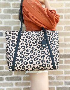 Kate Spade Cara Large Top Zip Tote Leopard Animal Print Black Tan Multi