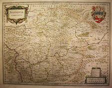 Kupferstichkarte von Hondius Nassovia Comitatus 1630 Koblenz Diez Westerwald sf