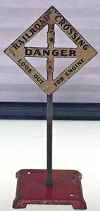 American Flyer Railroad Crossing Sign