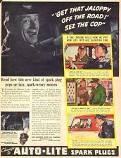 1940 vintage Auto Parts Ad AUTO LITE Spark Plugs  ART Real Life stories 093017