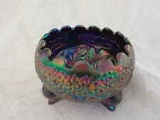 1984 ICGA Fenton Blue Carnival Glass Lion Rose Bowl-IRIDESCENCE WOW!!!