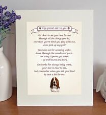 "Basset Hound 10""x8"" Free Standing 'Thank You' Poem Fun Novelty Gift FROM THE DOG"