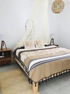 "Hand Loom Oaxaca Tassle Cotton Bedspread Mexico Queen Size 84"" W  X 104"" L"