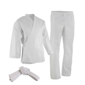 NEW Black/White Karate Uniform, Gi 7 oz Adult Kids w/White belt Tae Kwon Do