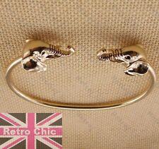 Retro Cabeza De Elefante Animales Brazalete Pulsera de oro de tono de moda Metal extravagante de Torque