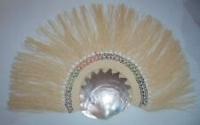 Antique 1900s era Ladies Hand Fan, Weaved Straw and Seashell