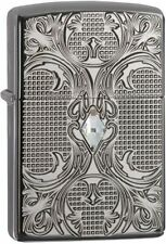 Zippo 28956, Armor, Crystal Lattice, Black Ice Chrome Lighter, Full Size