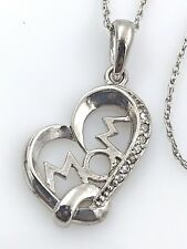 """Vintage .925 Sterling Silver & Cubic Zirconia, """"Mom"""" Heart Pendant Necklace, 18"""""""