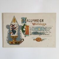 Vintage Barton & Spooner S 640 Halloween Postcard: Witch Candle, Cat, Warnings
