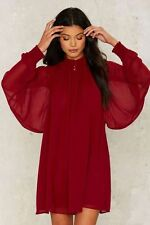 Nasty Gal Winnie Bell Sleeve Dress Size S Red  NG7