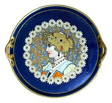 "15 1/2"" AUSTRIAN GERMAN ART NOUVEAU HAND PAINTED PORCELAIN PORTRAIT TRAY CHARGER"