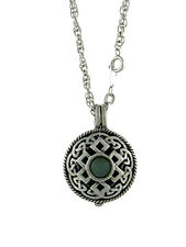 Necklace - Aromatherapy Renaissance fnt Celtic Knot Diffuser with Green Stone