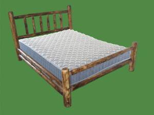 Torched Cedar Log Bed -King $604 - Double Log Side Rail