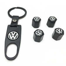 Set of 4 Car Tire Valve Stem Air Caps Cover + Keychain For VW Volkswagen Black