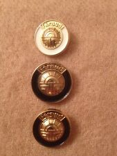 Lot Set of 3 Louis Feraud Couture Designer Gold White Navy Blue Metal Buttons