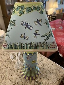 Vge  Patricia Dupont Hand Painted Lamp Night Light Frogs Dragonflies Art/ Shade