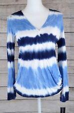 Inc Navy Blue White Tie Dye Print Women's Size PP Petite Wrap Top Blouse