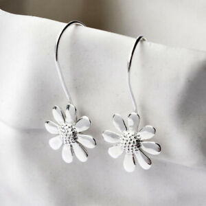 Simple 925 Silver Daisy Crystal White Sapphire Women Party Earring Jewelry