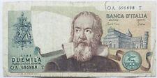 ITALY BANKNOTE 2000 ITALIAN LIRA LIRE ITALIA GALILEO 1976 PRE EURO EUROPE MONEY