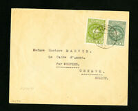 Yemen Cover 1937 w/ Stamps Pair to Switzerland back stamped