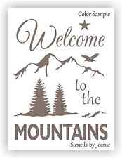 Joanie STENCIL Welcome To Mountains Pine Tree Eagle Star Rustic Lodge Cabin Art