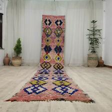 """Handmade Vintage Moroccan Runner Rug 2'5""""x14'2"""" Geometric Berber Pink Wool Rug"""