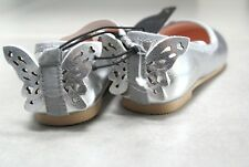 Girls 3D Butterfly Metallic Party Shoes Slip On Xmas Ballet Pumps Size 7.5 EU24