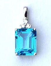 Large 4.00ct Blue Topaz Diamond Pendant in 18K