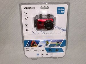 "VIVITAR Red 1080 Full HD 12MP 4X Zoom 2"" Screen Waterproof Action Cam DVR786HD"