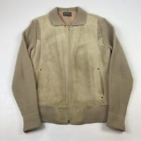 Vintage 80's Sears Sportswear Mens XL Suede Leather Knit Sweater Jacket Brown