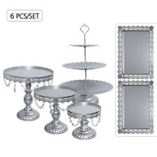 6PCS Crystal Silver Metal Cake Holder Wedding Dessert Stand Set Cupcake Plates