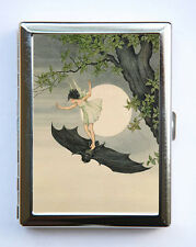 Girl Riding Bat #2 Cigarette Case id case Wallet Business Card Holder gothic