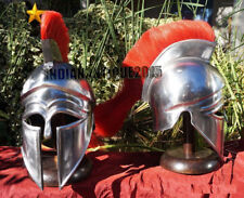 Armor Medieval Greek Helmet Red Plume Armor With Stand Free