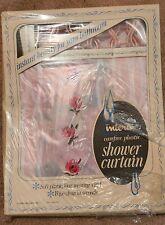 Vintage 50s 60s Interio Rose Plastic Shower Curtain Matching Plastic Hooks Nos