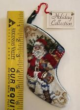 "Small Needlepoint Style Christmas Stocking Santa Claus 6"" Green Back Mini A16"