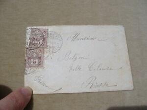 BUSTA 1889 CON 2 FRANCOBOLLI DA CENT.5 DA GINEVRA A ROSSA-CANTONE GRIGIONI