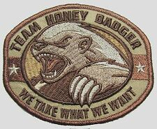 TEAM HONEY BADGER USA ARMY US MILITARY ISAF MORALE MILSPEC DESERT HOOK PATCH
