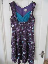 Ladies Purple Floral Print Dress. Lindy Bop Brand, Size 16
