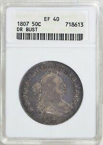 1807 DRAPED BUST HALF DOLLAR >ANACS XF40< Very Pretty Coin > FAST SHIPPING!
