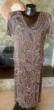 Connected Apparel Crinkle Paisley Print Dress Very Stretchy Blk Brn Wht 12