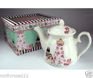 Pretty Ceramic Fancy Dress Maltese Dog Shoe Teapot With Gift Box